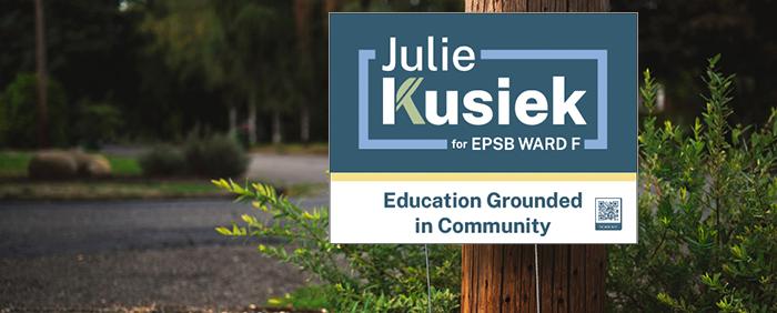 A mockup of a Julie Kusiek Lawn sign
